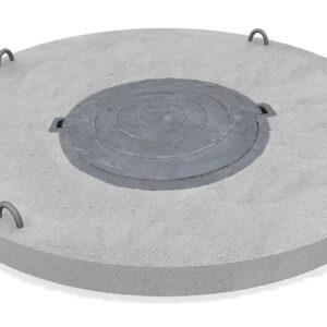 Крышка бетонная (диам.170 см) с пластиковым люком