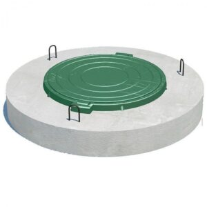 Крышка бетонная (диам.120 см) с пластиковым люком