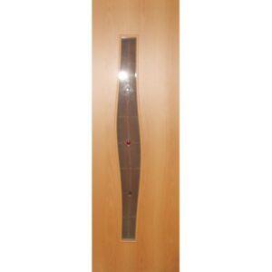 Дверь ламинированная тип 5 (волна) миланский орех стекло