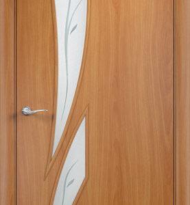 Дверь ламинированная тип Стрелиция миланский орех стекло